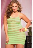 Riot Girly- Net Striped Dress -lime Qs